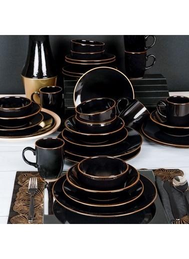 Keramika Ege Siyah Gold Yemek Takımı 30 Parça 6 Kişilik Siyah
